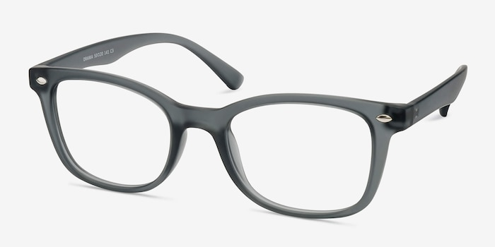 Drama Matte Gray Plastic Eyeglass Frames from EyeBuyDirect, Angle View