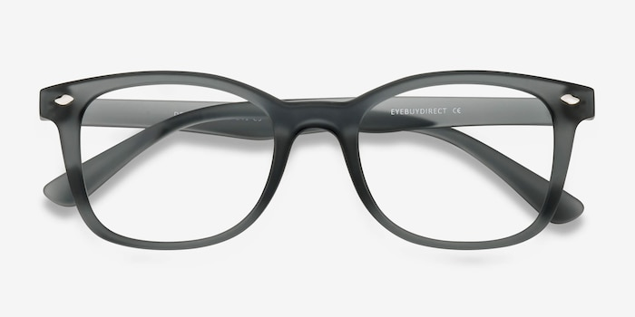 Drama Matte Gray Plastic Eyeglass Frames from EyeBuyDirect, Closed View