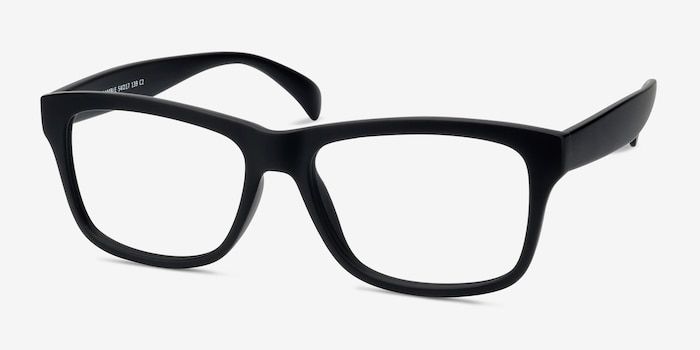 Gamble Matte Black Plastic Eyeglass Frames from EyeBuyDirect, Angle View
