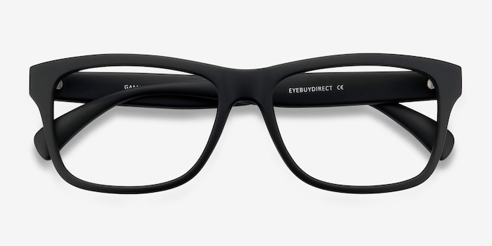 Gamble Matte Black Plastic Eyeglass Frames from EyeBuyDirect, Closed View