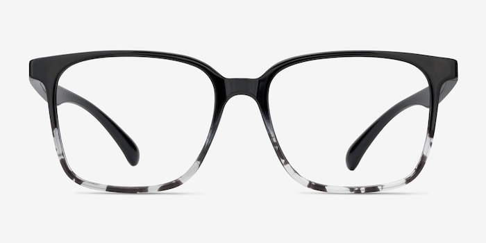 Blocks Black Clear Plastic Eyeglass Frames from EyeBuyDirect, Front View