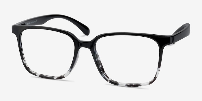 Blocks Black Clear Plastique Montures de Lunettes d'EyeBuyDirect, Vue d'Angle