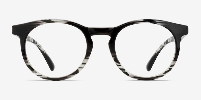 Thrill Black clear Plastic Eyeglass Frames from EyeBuyDirect, Front View