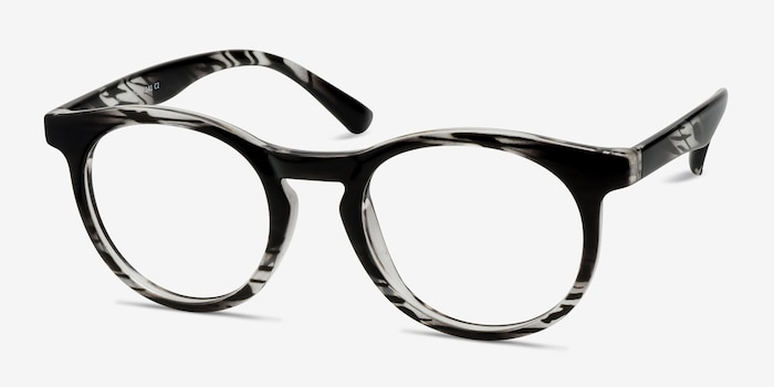 Thrill Black clear Plastic Eyeglass Frames from EyeBuyDirect, Angle View