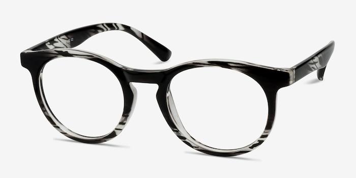 Thrill Black clear Plastique Montures de Lunettes d'EyeBuyDirect, Vue d'Angle