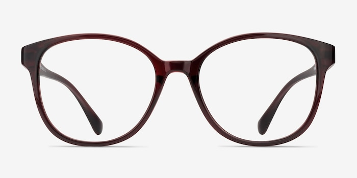 The Beat Burgundy Plastic Eyeglass Frames from EyeBuyDirect, Front View