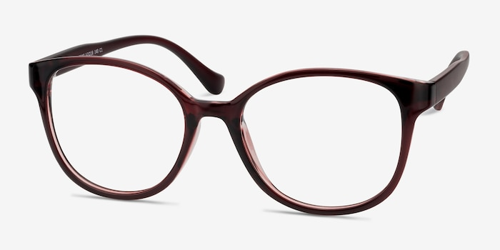 The Beat Burgundy Plastic Eyeglass Frames from EyeBuyDirect, Angle View