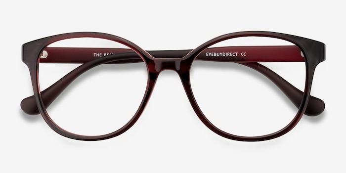 The Beat Burgundy Plastic Eyeglass Frames from EyeBuyDirect, Closed View