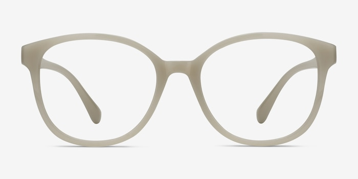 The Beat White Plastic Eyeglass Frames from EyeBuyDirect, Front View