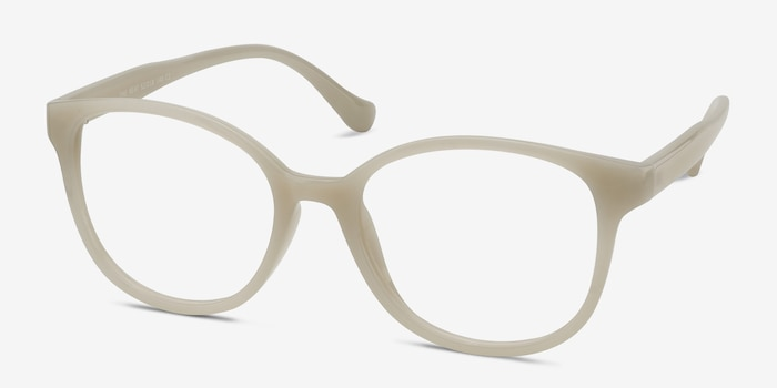 The Beat White Plastic Eyeglass Frames from EyeBuyDirect, Angle View