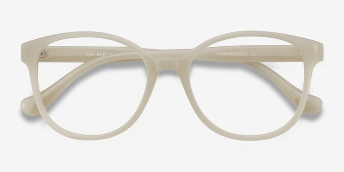 The Beat White Plastic Eyeglass Frames from EyeBuyDirect, Closed View