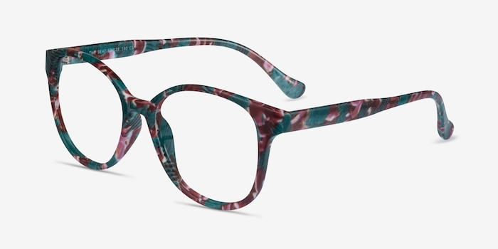 The Beat Floral Plastic Eyeglass Frames from EyeBuyDirect, Angle View