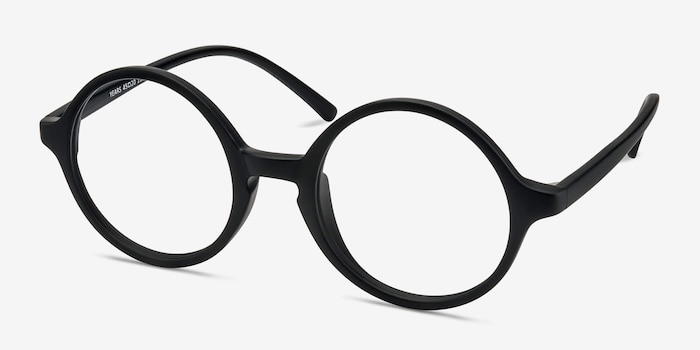 Years Black Plastic Eyeglass Frames from EyeBuyDirect, Angle View