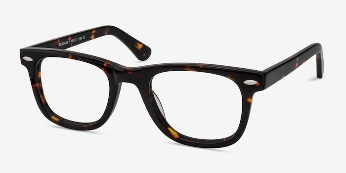 Blizzard Dark Tortoise Acetate Eyeglass Frames from EyeBuyDirect, Angle View