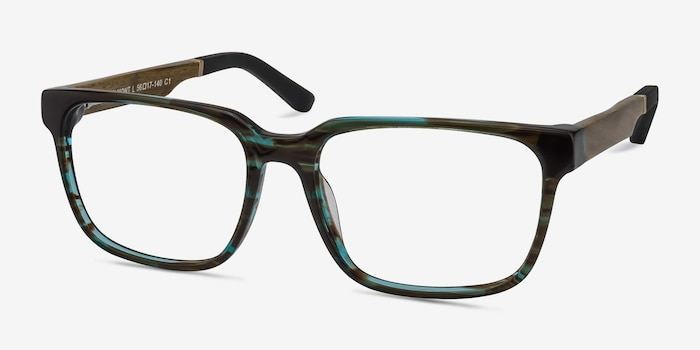Belmont Coffee Acetate Eyeglass Frames from EyeBuyDirect, Angle View