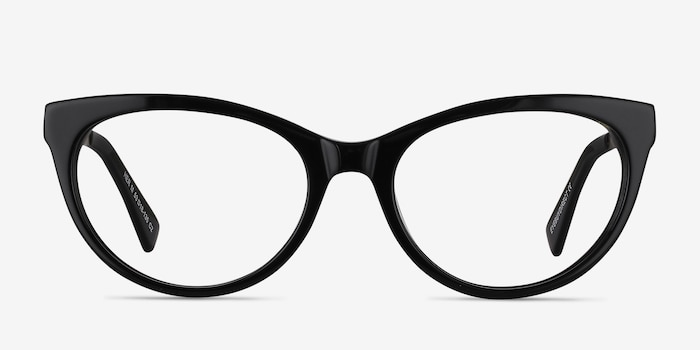 Her Black Acetate Eyeglass Frames from EyeBuyDirect, Front View