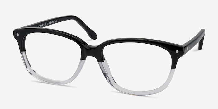 Escape Clear Black Acetate Eyeglass Frames from EyeBuyDirect, Angle View