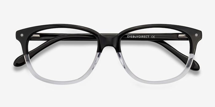 Escape Clear Black Acetate Eyeglass Frames from EyeBuyDirect, Closed View