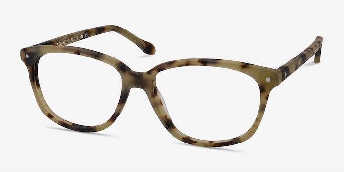 Escape Matte Tortoise Acetate Eyeglass Frames from EyeBuyDirect, Angle View