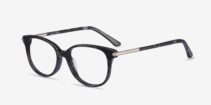 Jasmine Gray Floral Acetate Eyeglass Frames from EyeBuyDirect, Angle View