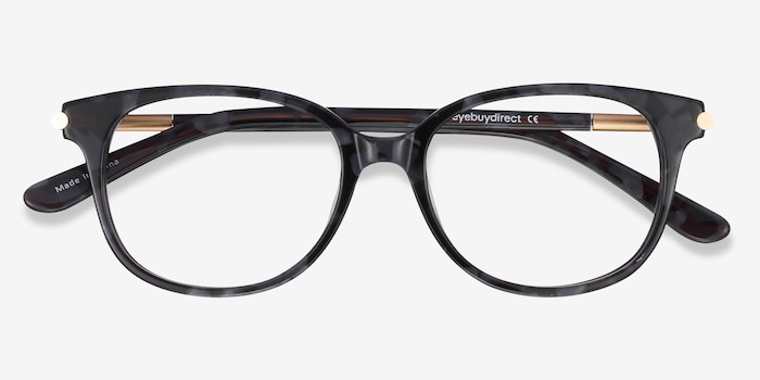 Jasmine Gray Floral Acetate Eyeglass Frames from EyeBuyDirect, Closed View