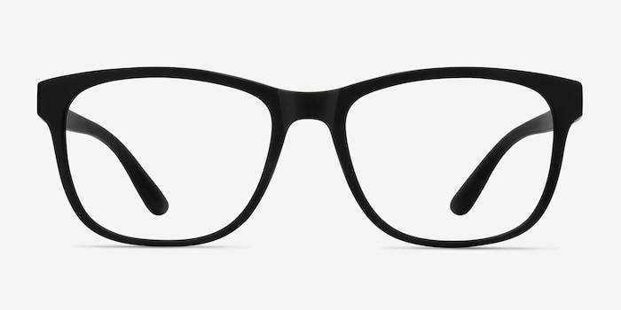 Milo Matte Black Plastic Eyeglass Frames from EyeBuyDirect, Front View