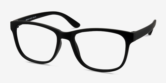Milo Matte Black Plastic Eyeglass Frames from EyeBuyDirect, Angle View
