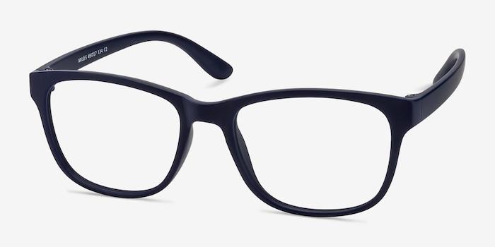 Milo Matte Navy Plastique Montures de Lunettes d'EyeBuyDirect, Vue d'Angle