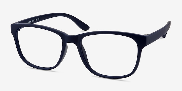 Milo Matte Navy Plastic Eyeglass Frames from EyeBuyDirect, Angle View