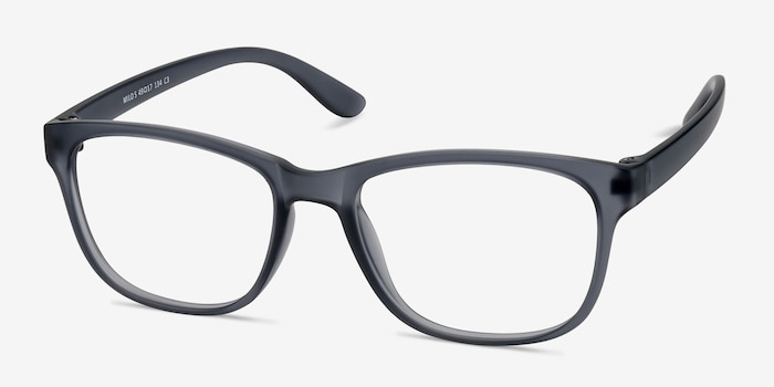 Milo Matte Gray Plastic Eyeglass Frames from EyeBuyDirect, Angle View