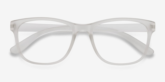 Milo Frosted Clear Plastic Eyeglass Frames from EyeBuyDirect, Closed View