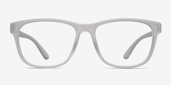 Milo Frosted Clear Plastic Eyeglass Frames from EyeBuyDirect, Front View