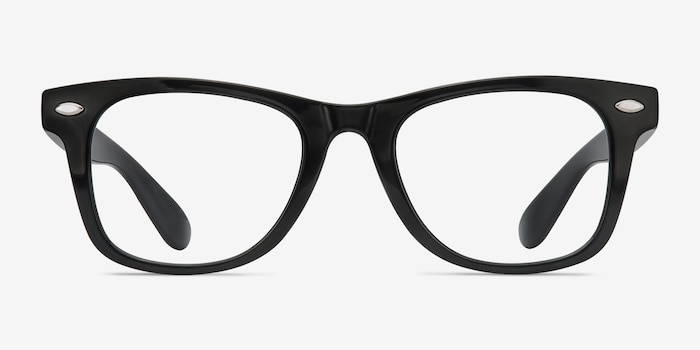 Atlee Black Plastic Eyeglass Frames from EyeBuyDirect, Front View