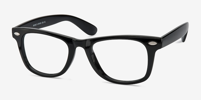 Atlee Black Plastic Eyeglass Frames from EyeBuyDirect, Angle View