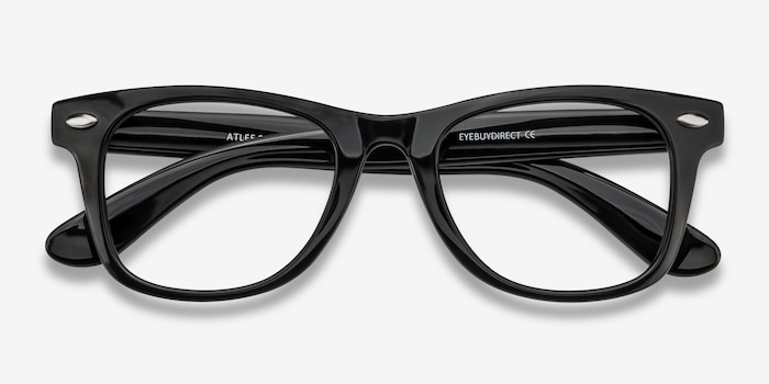 Atlee Black Plastic Eyeglass Frames from EyeBuyDirect, Closed View