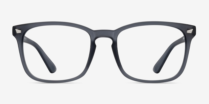 Uptown Matte Gray Plastic Eyeglass Frames from EyeBuyDirect, Front View