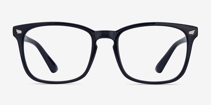 Uptown Navy Plastic Eyeglass Frames from EyeBuyDirect, Front View