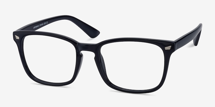 Uptown Navy Plastic Eyeglass Frames from EyeBuyDirect, Angle View