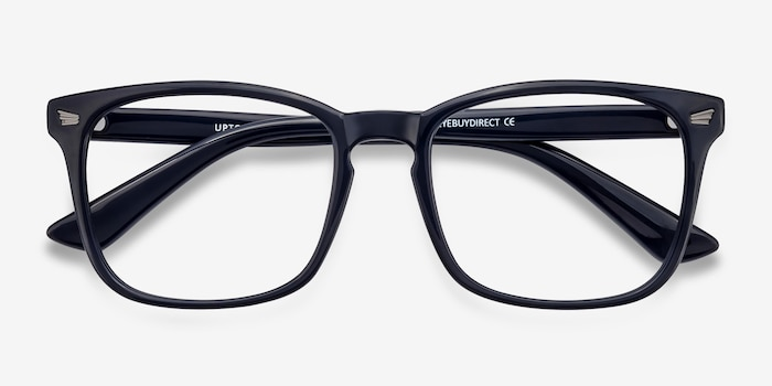 Uptown Navy Plastic Eyeglass Frames from EyeBuyDirect, Closed View