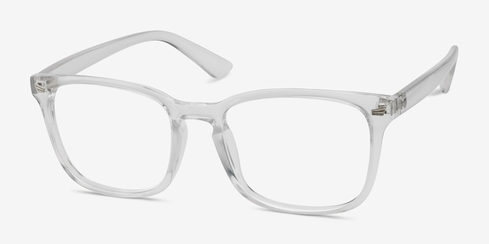 Uptown Clear Plastic Eyeglass Frames from EyeBuyDirect, Angle View