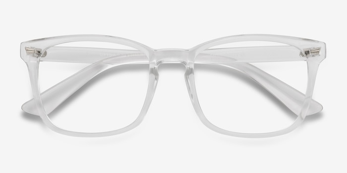 Uptown Clear Plastic Eyeglass Frames from EyeBuyDirect, Closed View