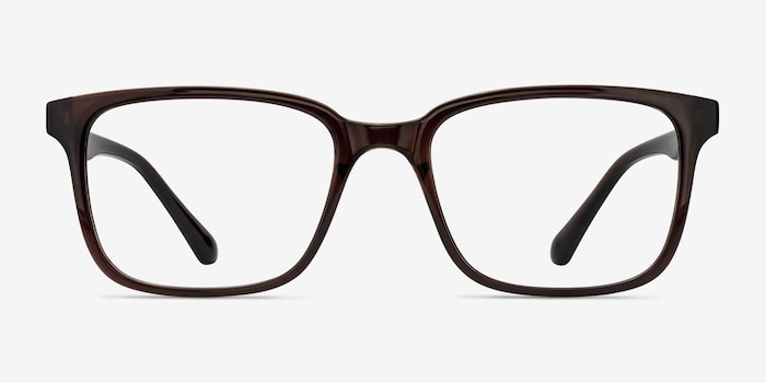 November Brown Plastic Eyeglass Frames from EyeBuyDirect, Front View