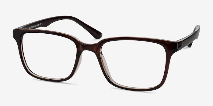 November Brown Plastic Eyeglass Frames from EyeBuyDirect, Angle View