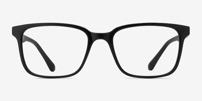 November Matte Black Plastic Eyeglass Frames from EyeBuyDirect, Front View