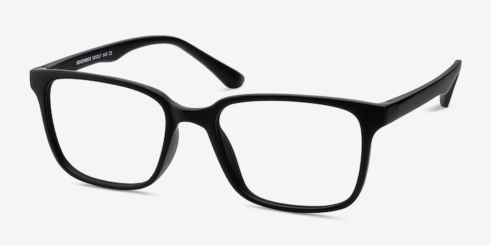 November Matte Black Plastic Eyeglass Frames from EyeBuyDirect, Angle View