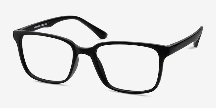 November Matte Black Plastique Montures de Lunettes d'EyeBuyDirect, Vue d'Angle
