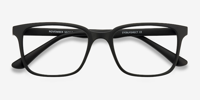 November Matte Black Plastique Montures de Lunettes d'EyeBuyDirect, Vue Rapprochée