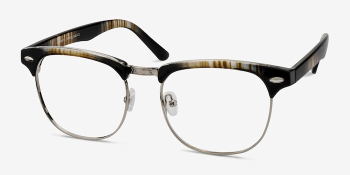 Coexist Striped Metal Eyeglass Frames from EyeBuyDirect, Angle View