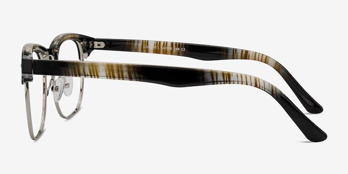 Coexist Striped Metal Eyeglass Frames from EyeBuyDirect, Side View