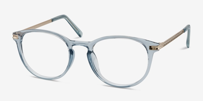 Daphne Clear Blue Plastic Eyeglass Frames from EyeBuyDirect, Angle View